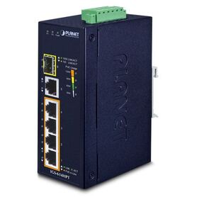 Planet Industrial 6 Port (4x 1G 802.3at PoE RJ45 1x GbE 1x 100 1000X SFP Gigabit Ethernet Switch